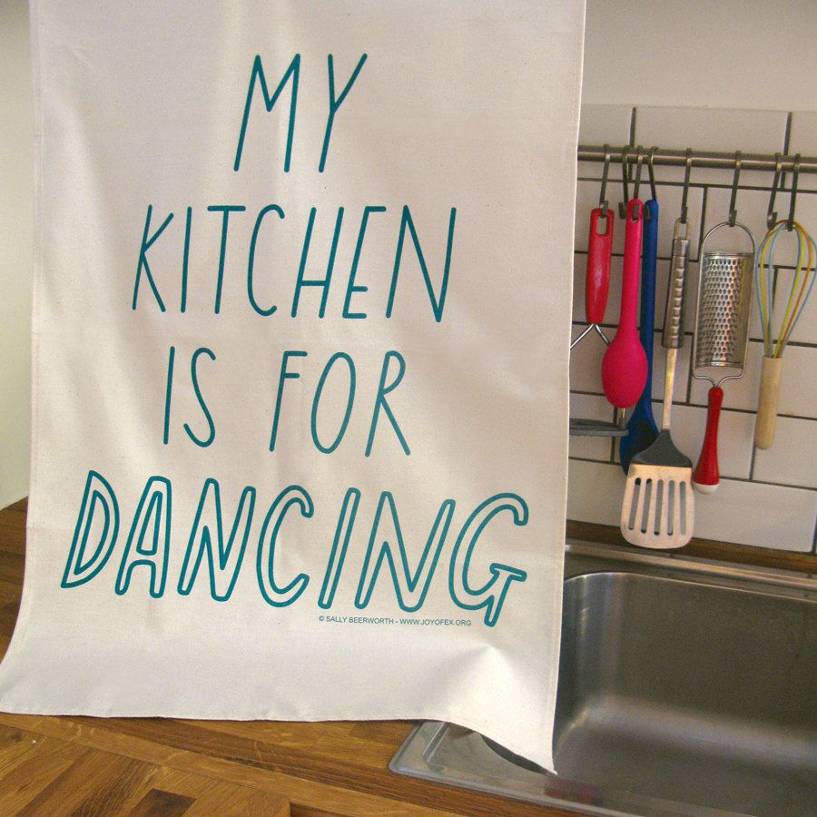 Kitchen dancing tea towel trademarked