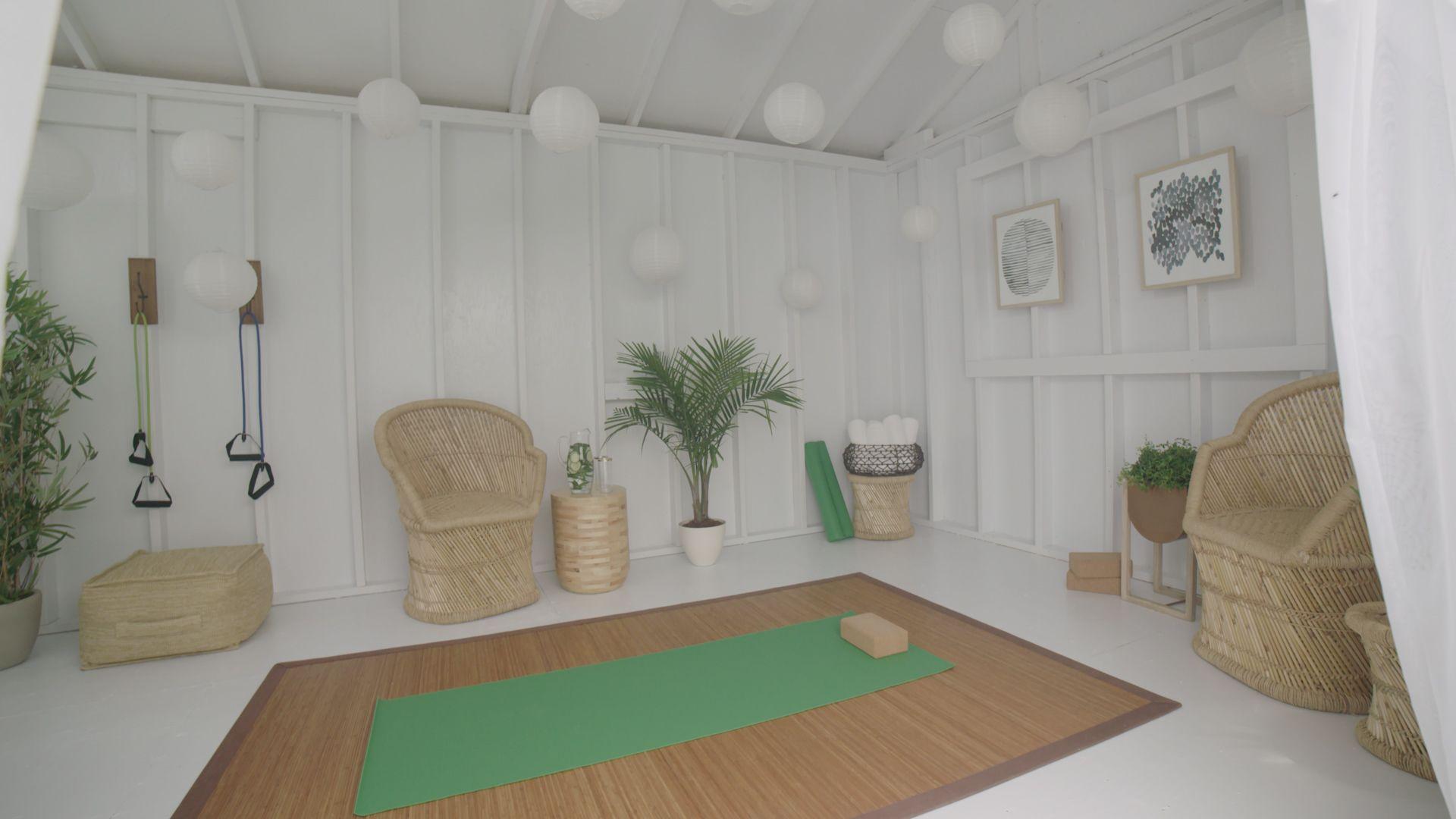 Turn An Old Shed Into A Yoga Retreat Home Yoga Room Yoga Studio Home Yoga Studio Design Diy backyard yoga studio