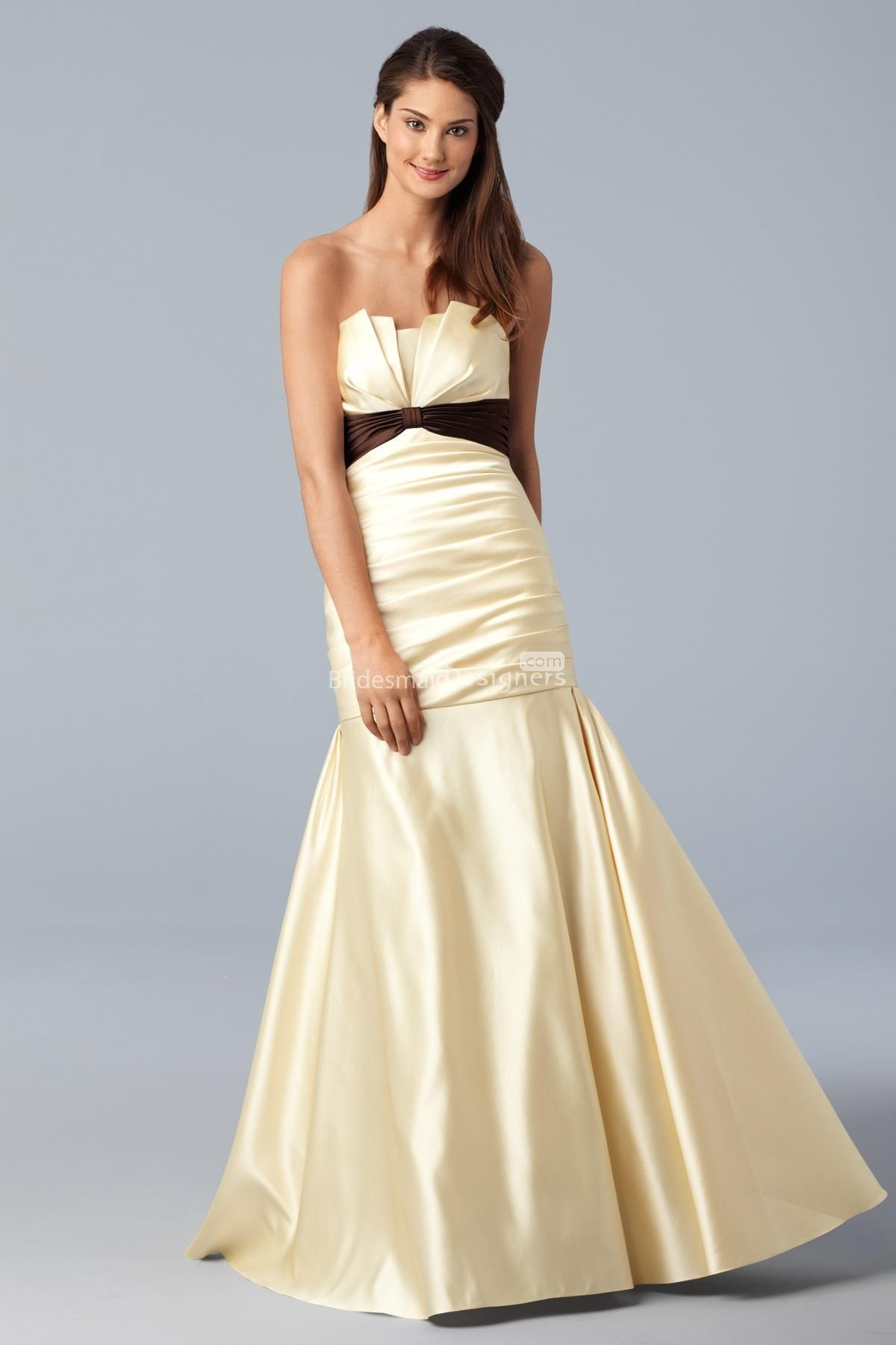 goddess cream empire sleeveless floor length trumpet pleated satin ...