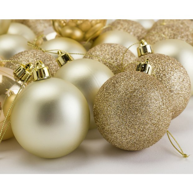 Buy Argos Home Berry Christmas Gold Baubles 48 Pack At Argos Thousands Of Products For Same Day D Gold Christmas Christmas Tree Decorations Tree Decorations