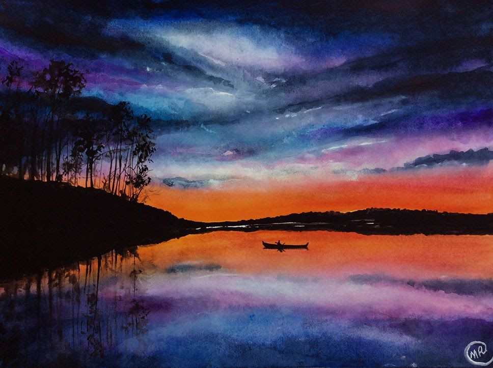 Watercolor Lake Sunset Scene Painting Demonstration Youtube