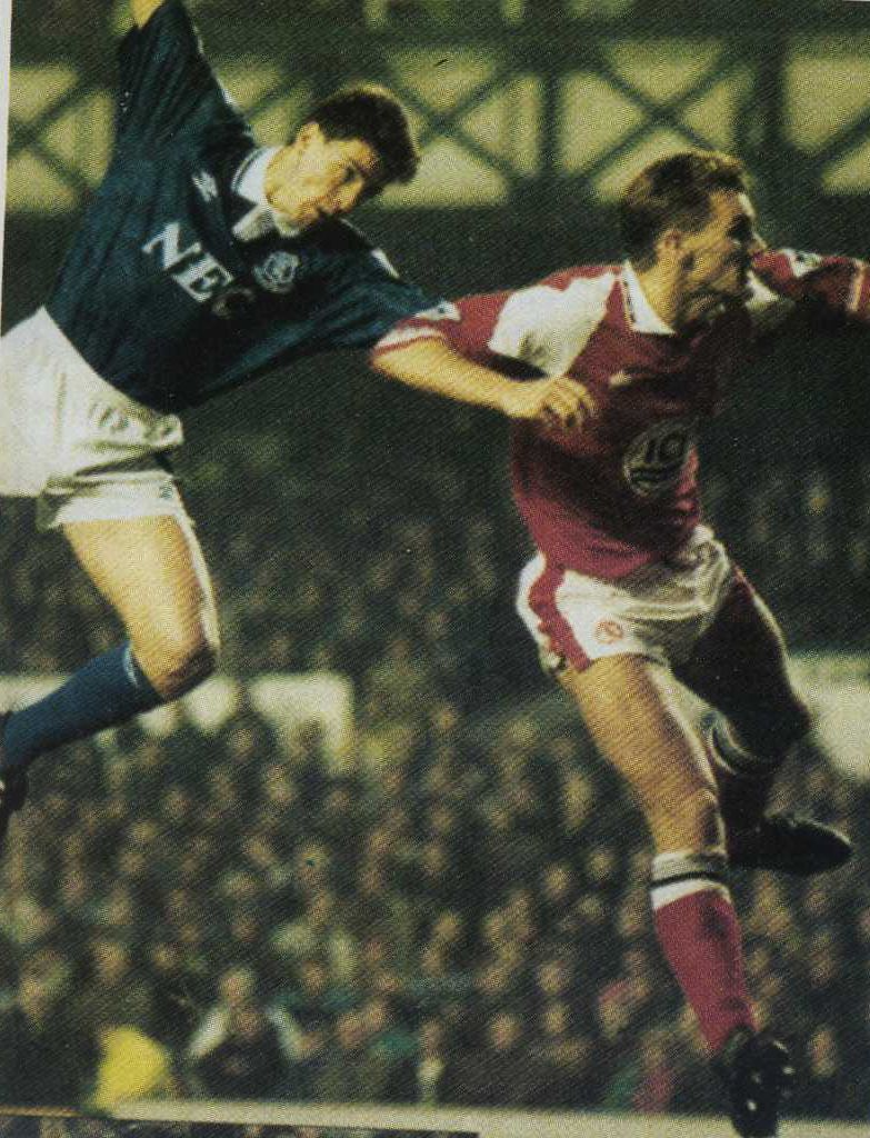26 December 1992 Paul Rideout rises to head home an Andy Hinchcliffe free kick to score Everton's first during a 2-2 draw with 'Boro'