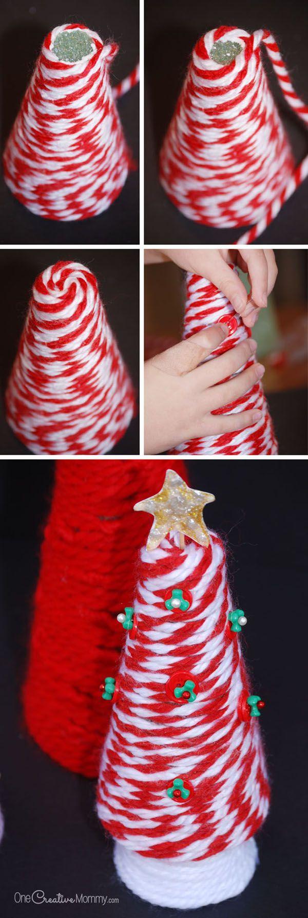 Yarn Tree Christmas Craft for Kids