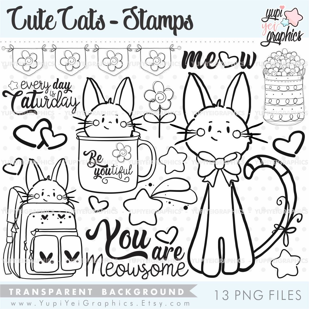 Cat Digital Stamps Cat Stamps COMMERCIAL USE Animal