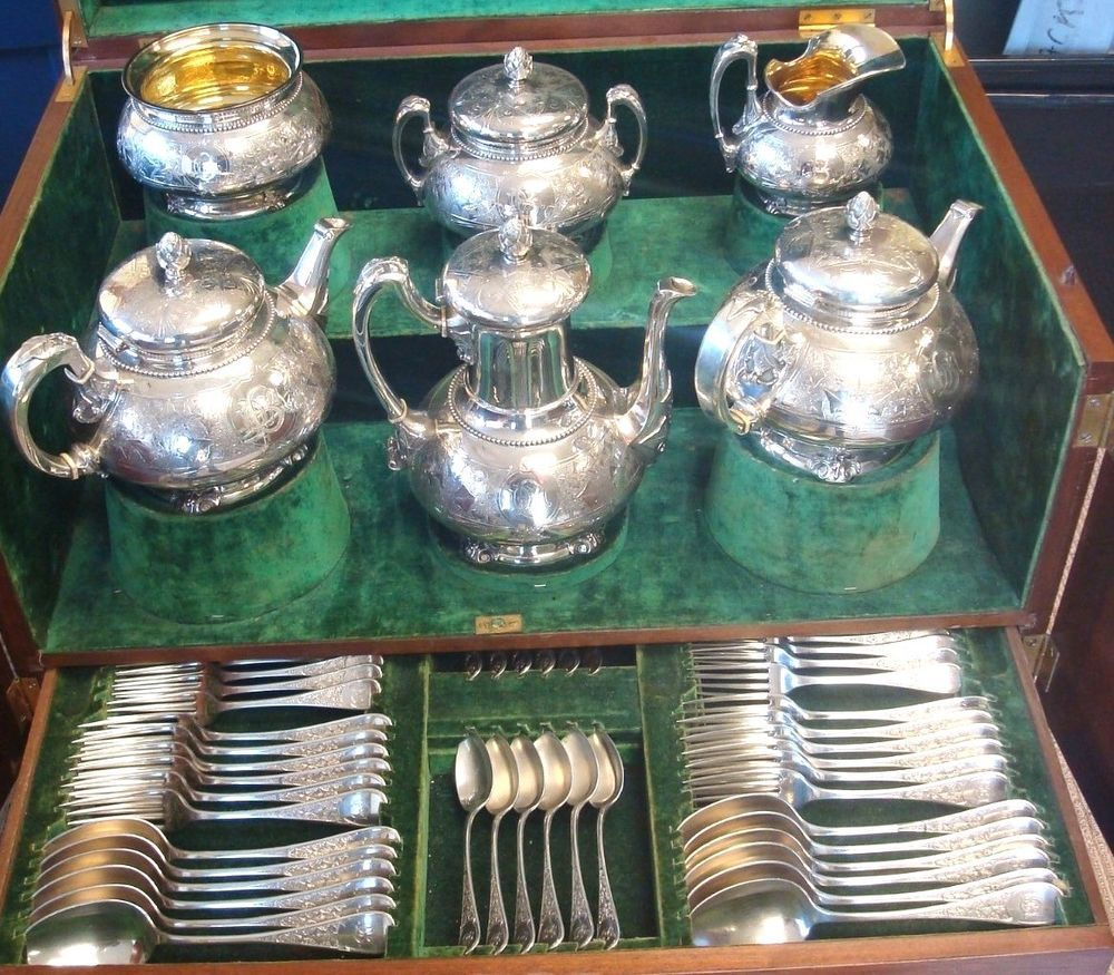 Ivy by tiffany & co. sterling silver tea service & flatware set massive - Ivy By Tiffany & Co. Sterling Silver Tea Service & Flatware Set