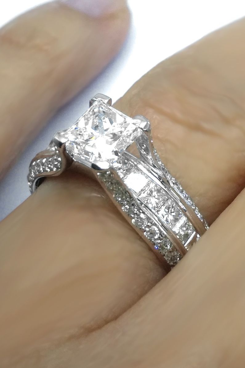 Princess Diamond Bridge Engagement Ring
