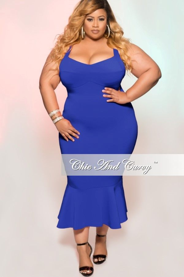 73c65d2d27c Plus Size Sleeveless Dress with Ruffle Bottom in Royal Blue – Chic And Curvy