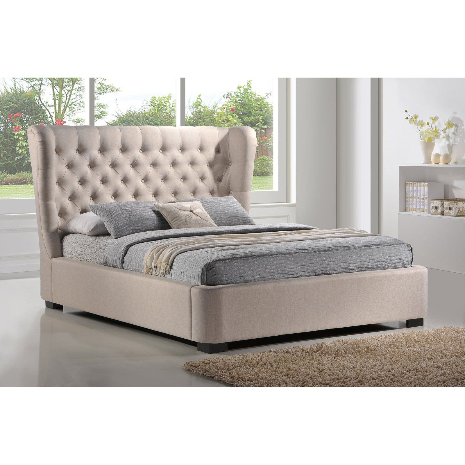 Luxeo Manchester Upholstered Platform Bed Khaki In 2019