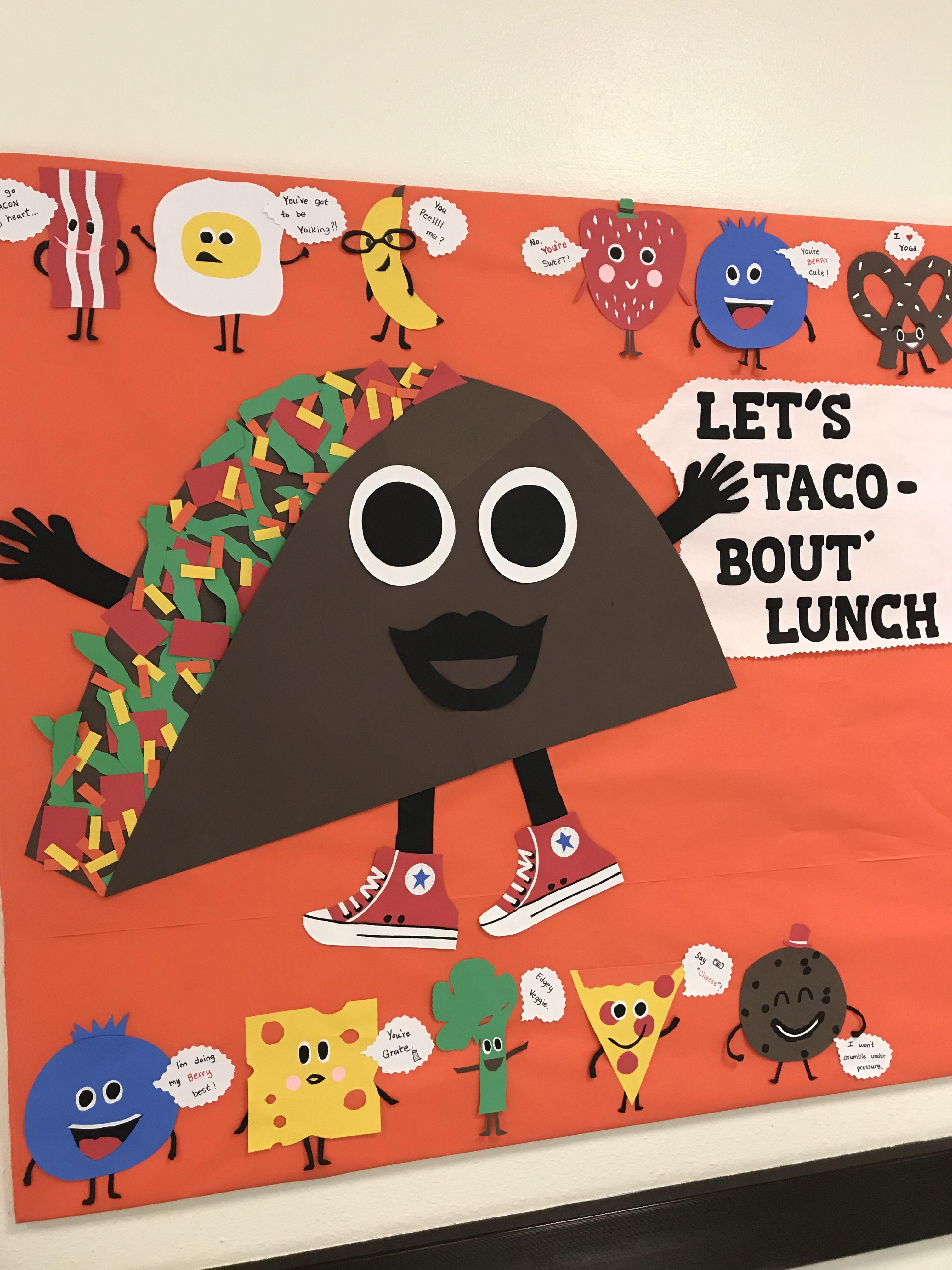 Cafeteria bulletin board   School cafeteria decorations, Bulletin ...