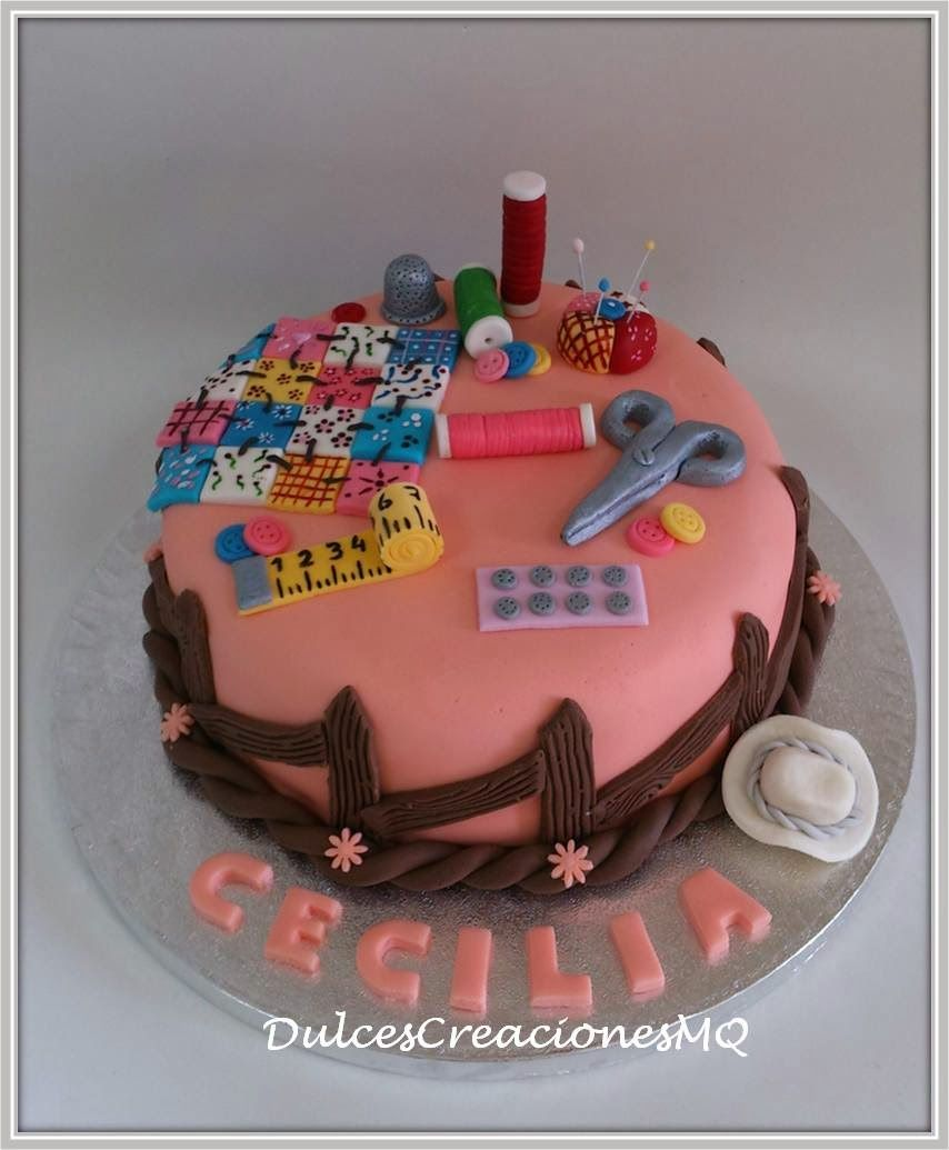 Tarta patchwork costurero manualidades Pastel Torta Fondant Pasta de