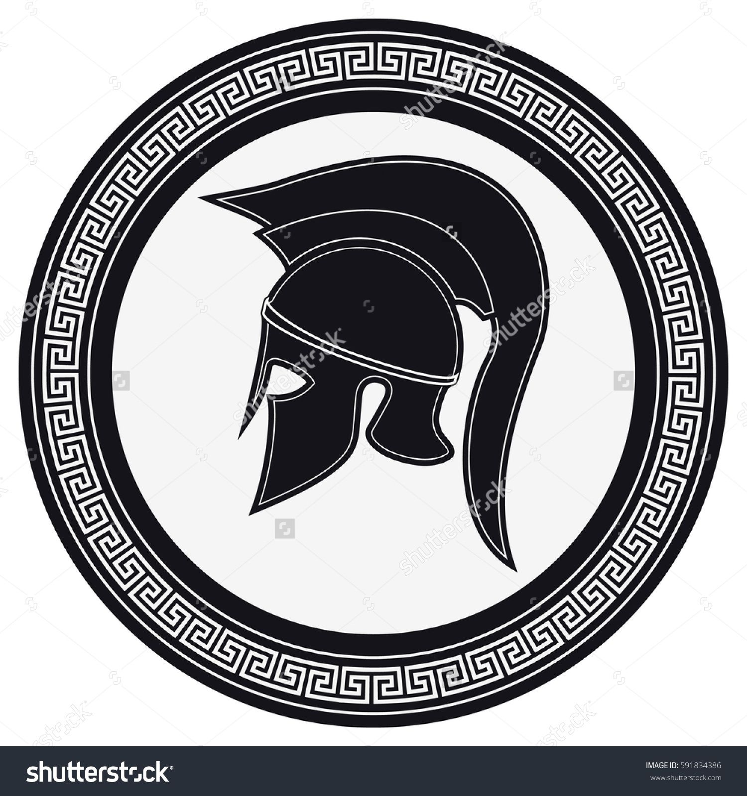 4d4f2abb5 Ancient Greek Helmet with a Crest on the Shield on a White Background.  Silhouette Spartan Helmet. Vector Roman Helmet