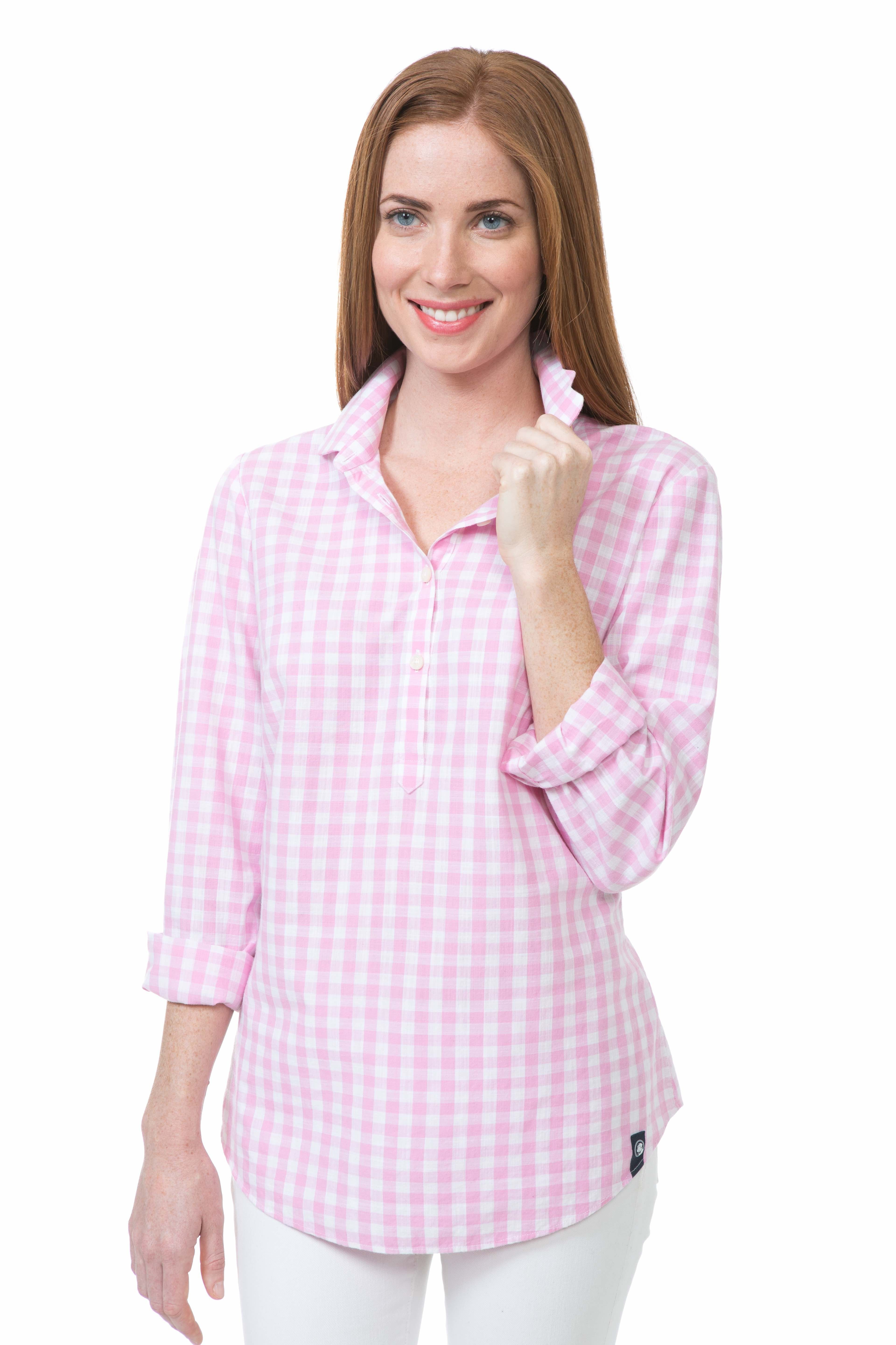Gingham Brooks Popover - Bright PInk   Southern Proper