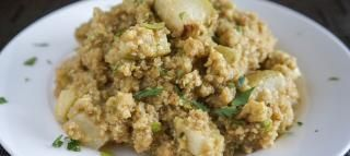 Creamy Quinoa with Roasted Chayote  Recipes Chayote #chayoterecipes