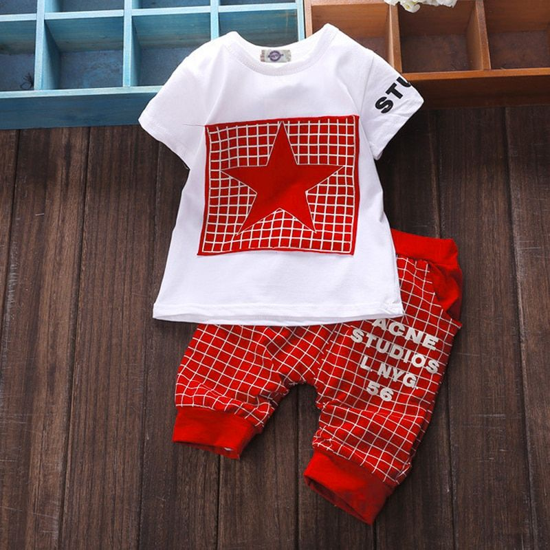 7cfb5bc447ea6 Baby boy clothes 2017 Brand summer kids clothes sets t-shirt+pants suit  clothing set Star Printed Clothes newborn sport suits