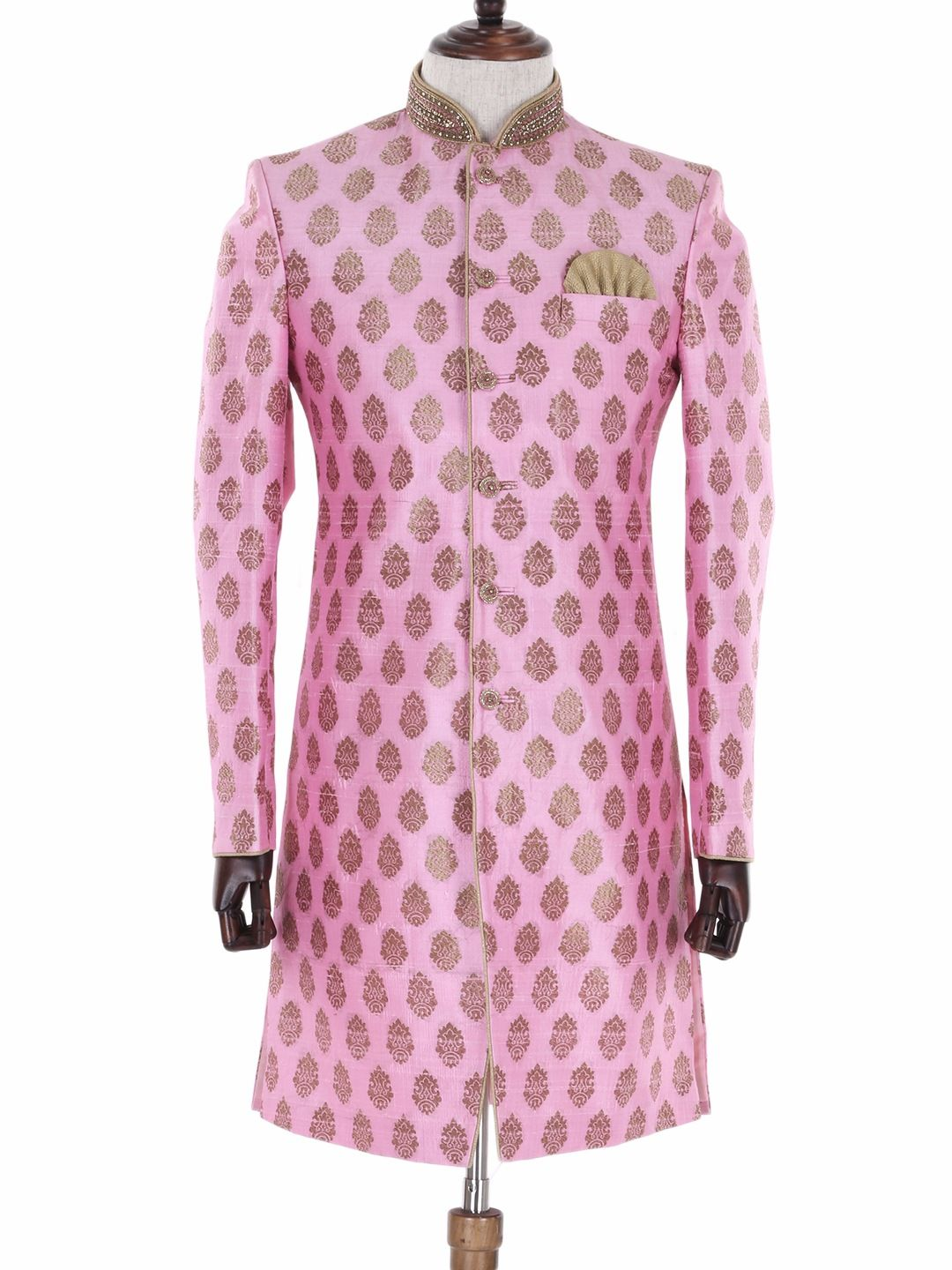 G3 Exclusive Wedding Wear Pink Silk Indo Western | Suit | Pinterest