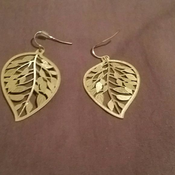 Leaf shaped earring Gold plated leaf earring Claire's Jewelry Earrings