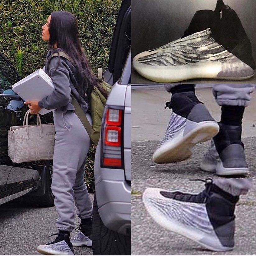 Kim Kardashian Steps Out In Adidas Yeezy Basketball Sneaker Photos Kim Kardashian Shoes Sneakers Yeezy Sneakers