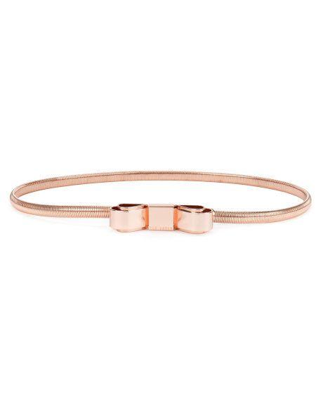 247b1d13a SARIAH - Metallic bow belt - Rose Gold