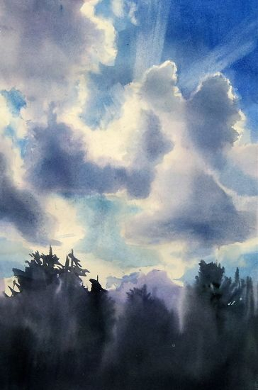 Watercolor Sky And Clouds By Sarah Yeoman Pic For Painting
