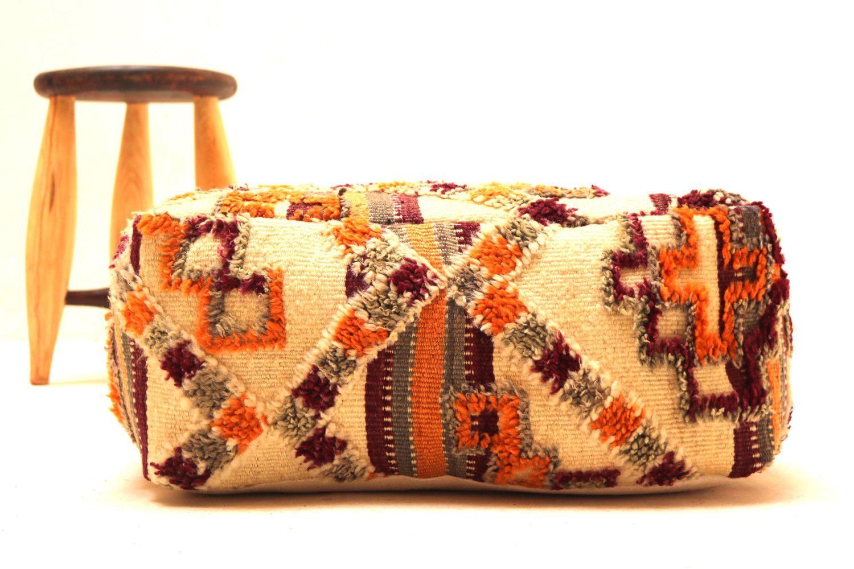 Fabulous Ottoman Kilim Pouf 24 Square Pouf Ottoman Pillow