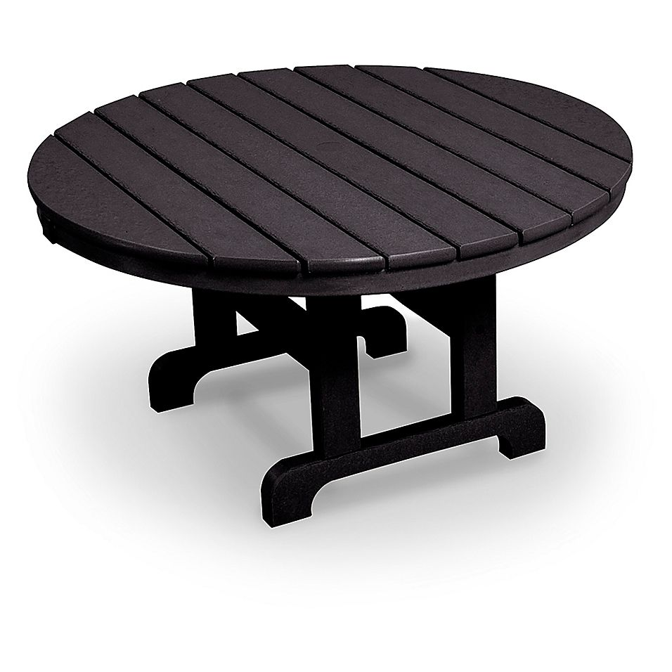 Polywood La Casa 36 Round Conversation Table In Black Patio