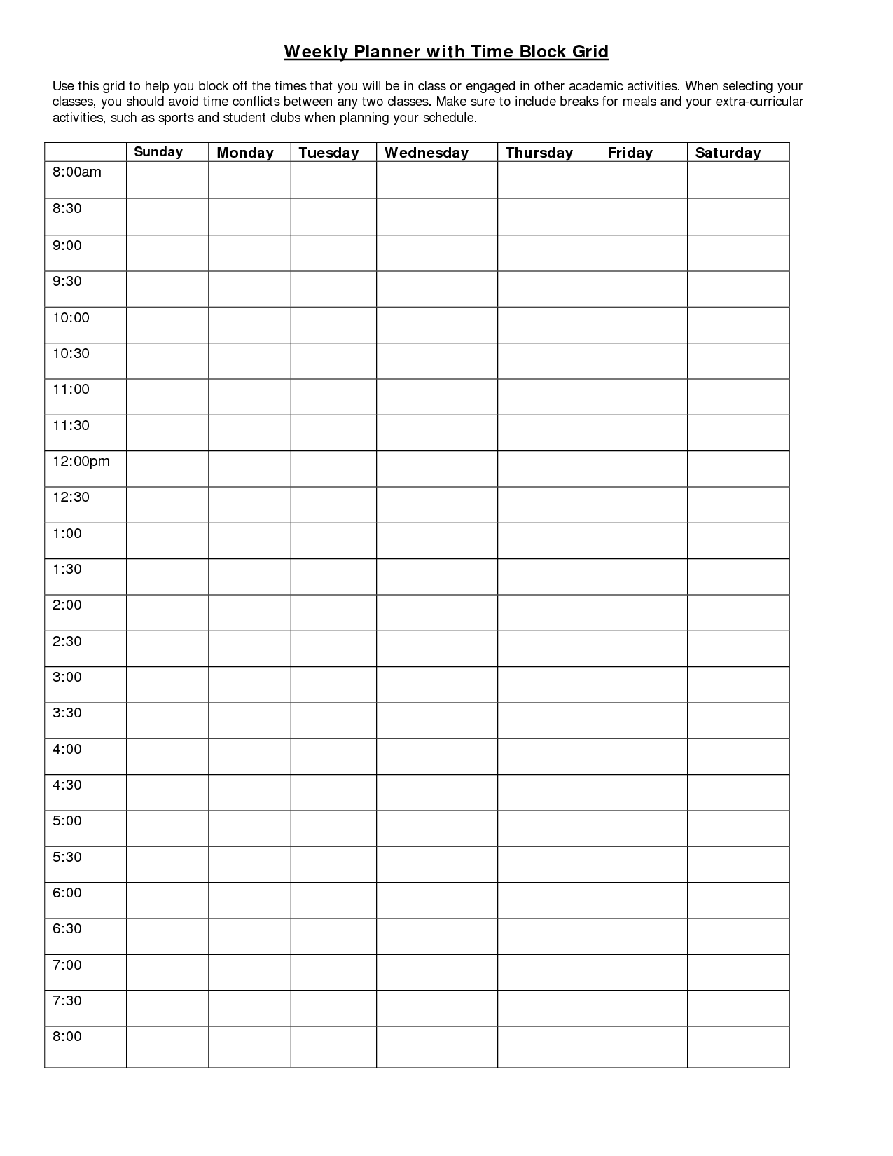 weekly planner with time block grid good ideas pinterest weekly planner planners and times
