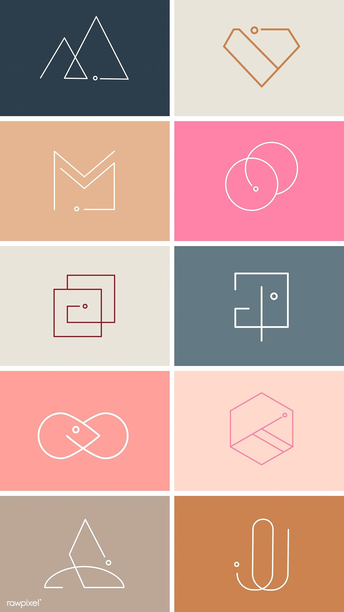 Colorful minimal design logo collection vectors | free image by rawpixel.com / b…