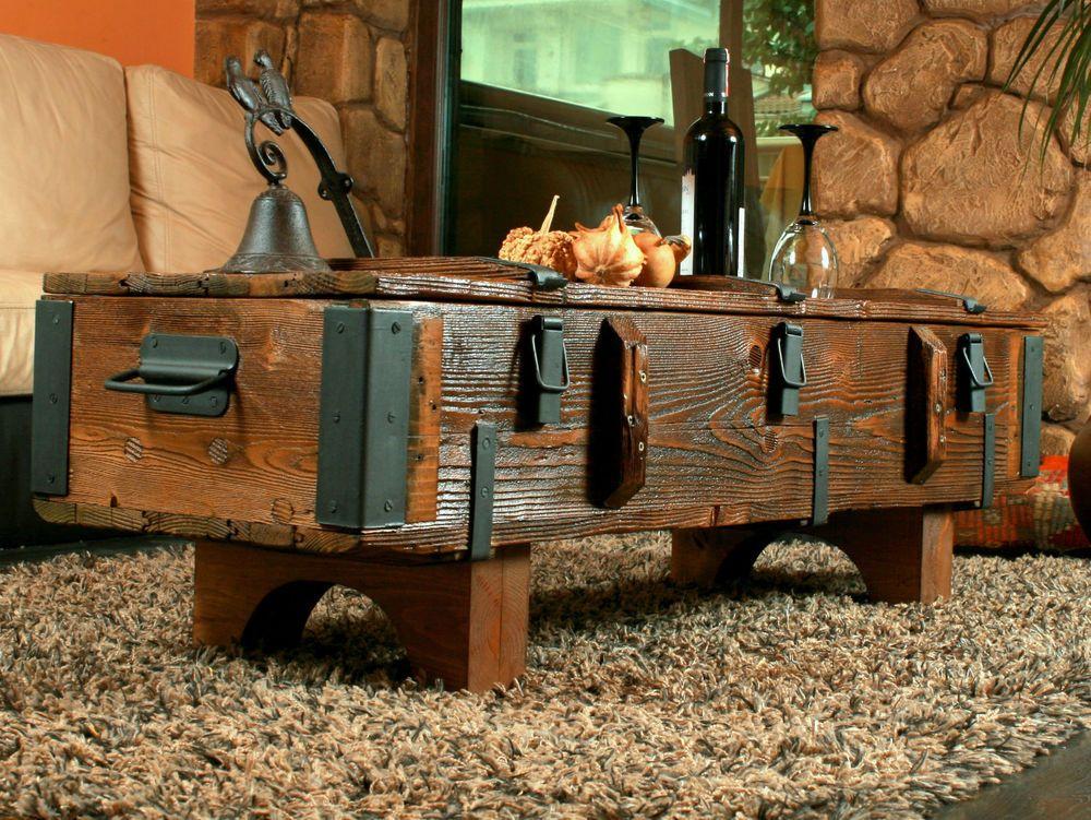 Details zu Alte Truhe Kiste Tisch shabby chic Holz Beistelltisch