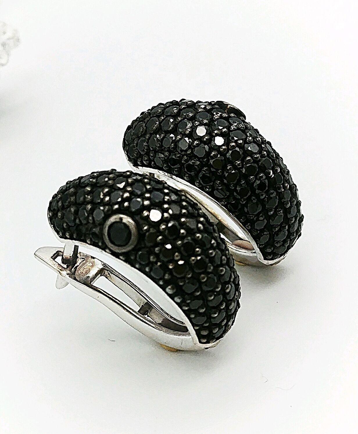 160881800a34 Серьги Black серебро 925 фианиты - купить или заказать в интернет ...
