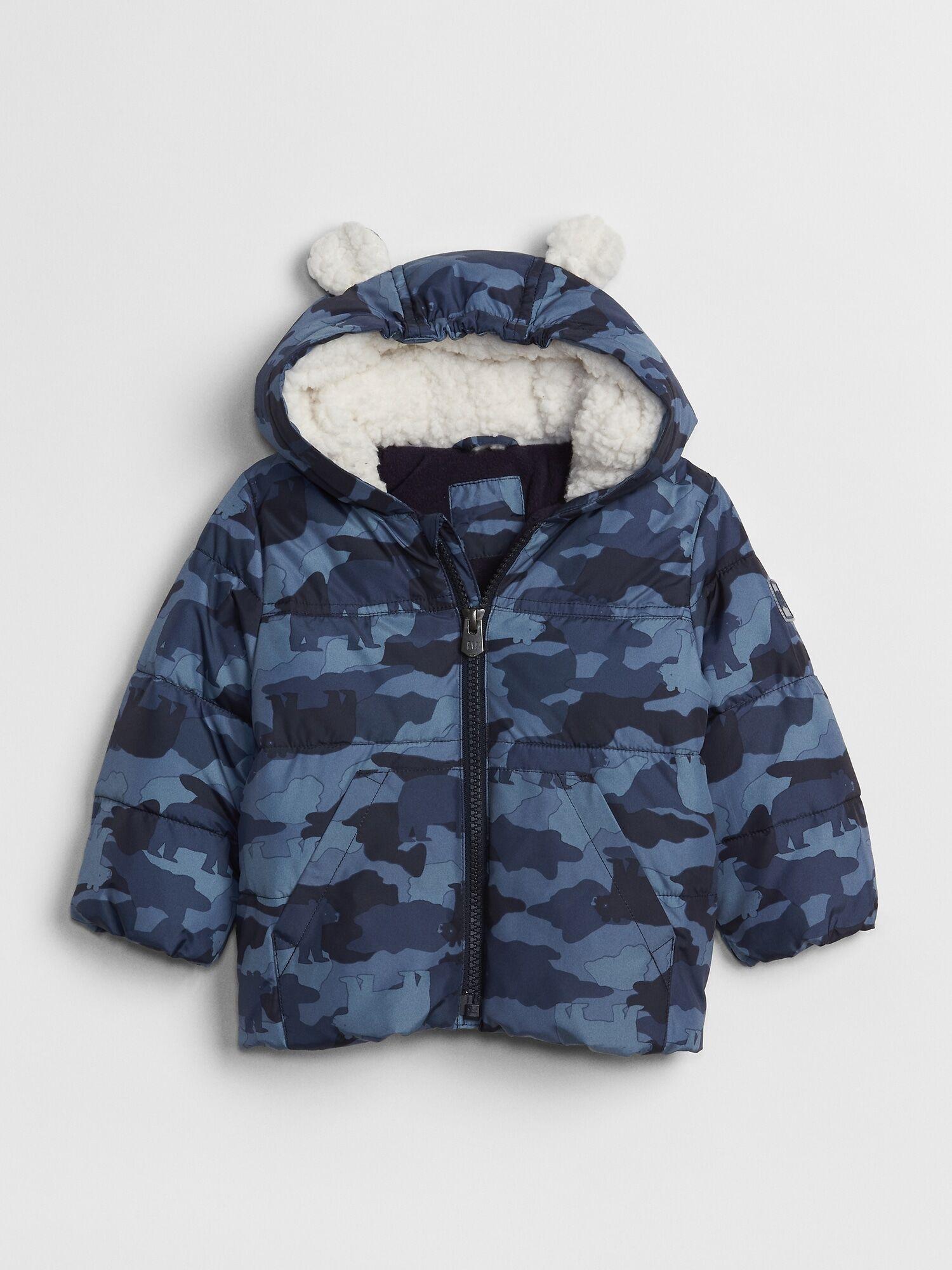 Coldcontrol Max Print Puffer Jacket Gap Eu Blue Puffer Jacket Boys Rain Coat Blue Camouflage [ 2000 x 1500 Pixel ]