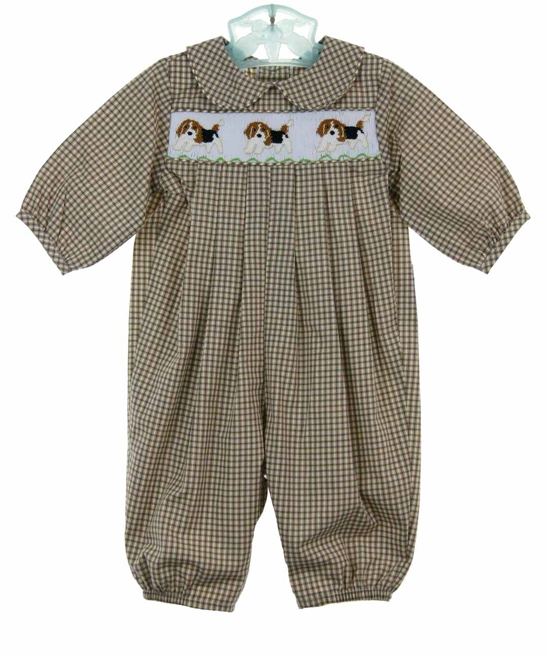 a3e2185cc NEW Bailey Boys Brown Plaid Smocked Longall with Embroidered Puppies ...