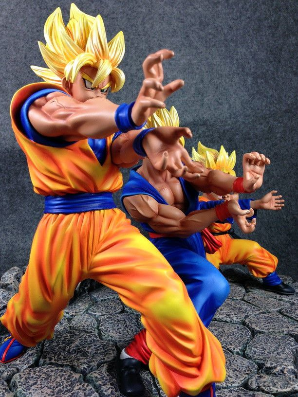 Dragonball Kai Goku Gohan Goten Triple Kamehameha Resin Statue Diorama New Dragon Ball Goku And Gohan Gohan And Goten
