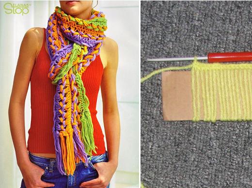 moderna bufanda de crochet fcil hecha con un molde de cartn