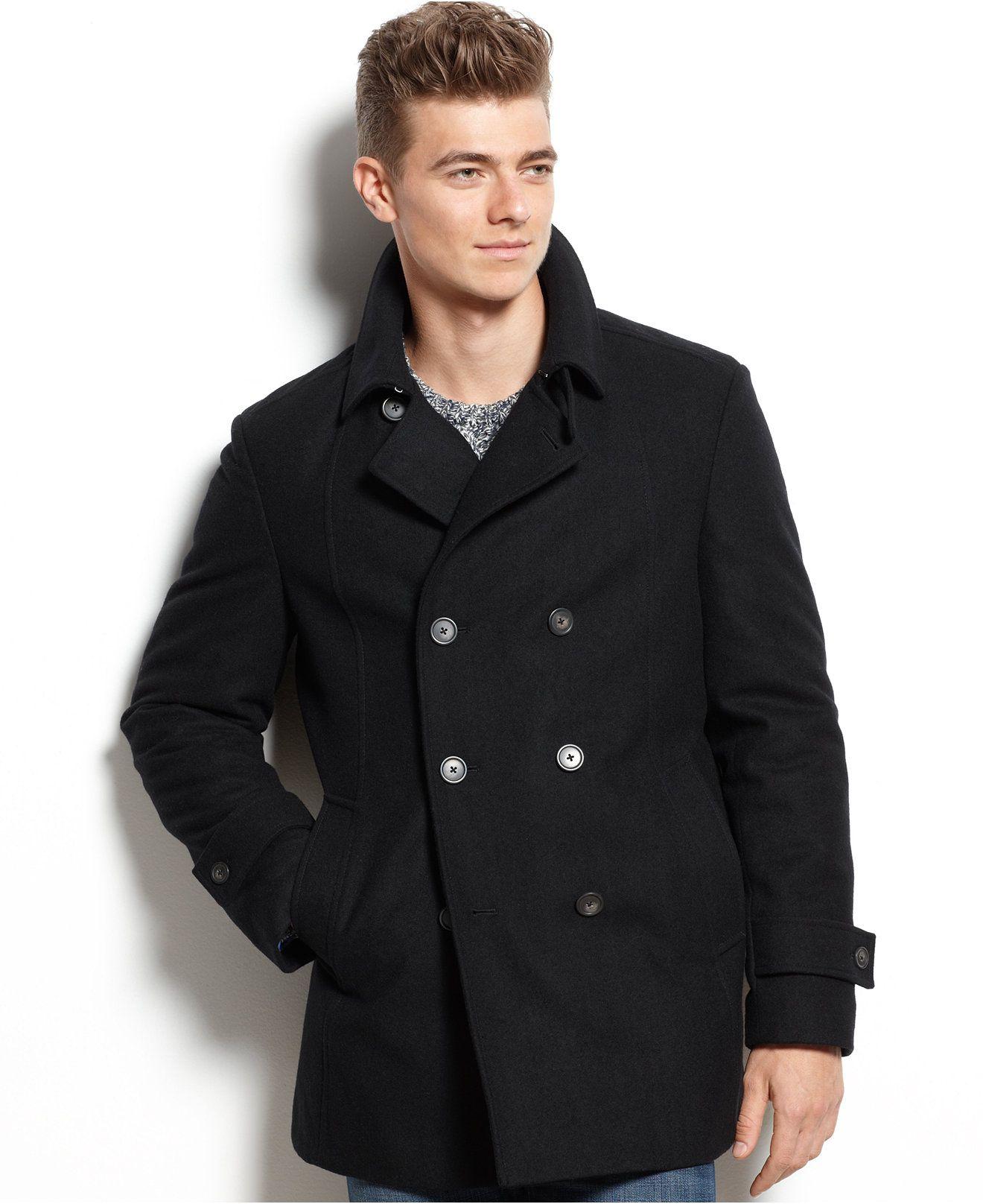 Tommy Hilfiger Double Breasted Wool Blend Peacoat Trim Fit Coats Jackets Men Macy S Long Coat Men Peacoat Mens Fur Coat [ 1616 x 1320 Pixel ]