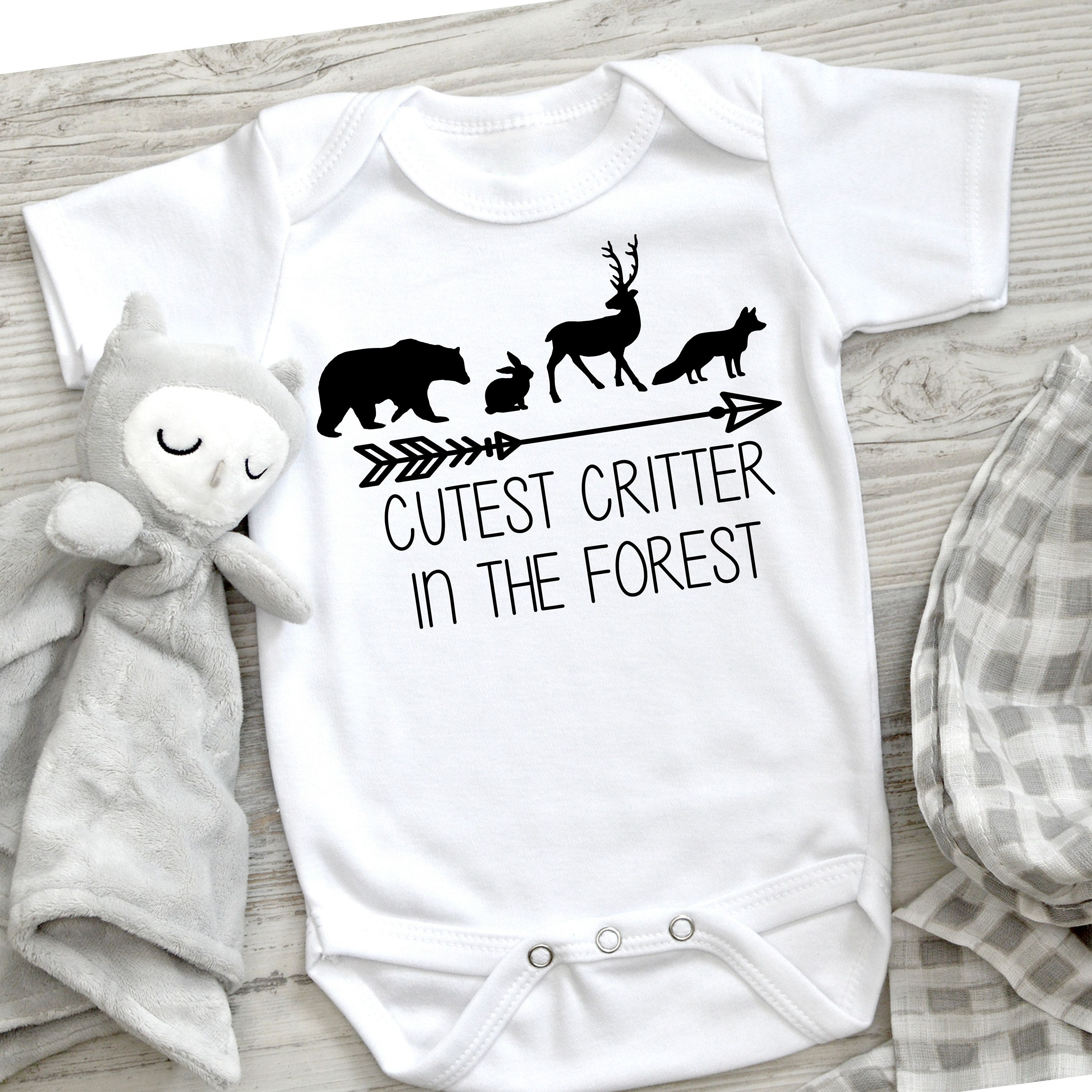 Cutest critter in the forest onsie, baby onsie svg