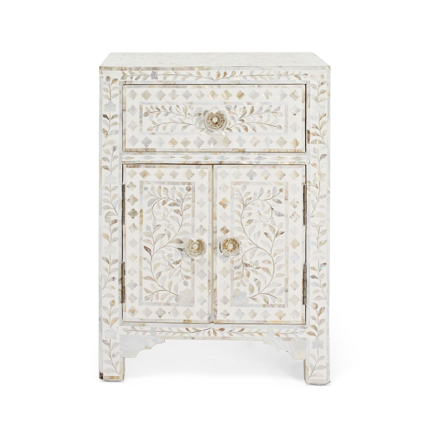 Mother Of Pearl White Nightstand