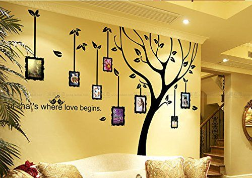 Yyone Photo Frame Wall Decal Family Tree Wall Stickers In Black