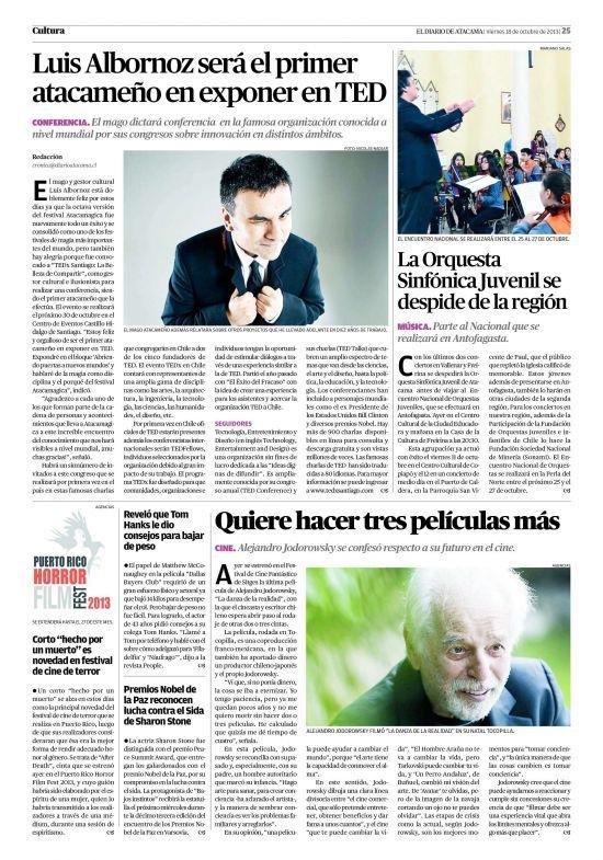 """Primer Atacameño en exponer en un evento TED"". Diario Atacama"