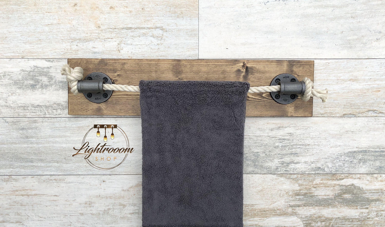 Photo of DARK WALNUT Rope Towel Holder, Nautical Design, Towel Bar, Towel Rack, Black Rope, Bathroom F…