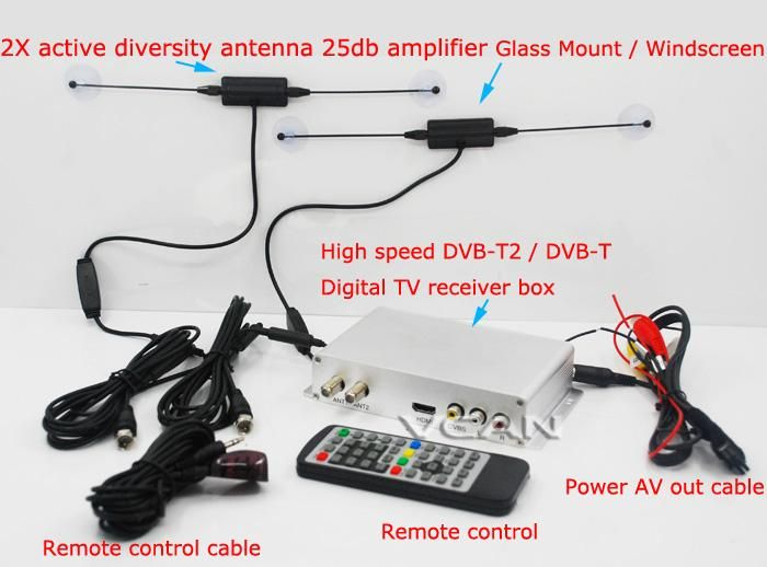 Car DVB-T2 DVB-T box USB HDMI HDTV tuner 2 active antenna