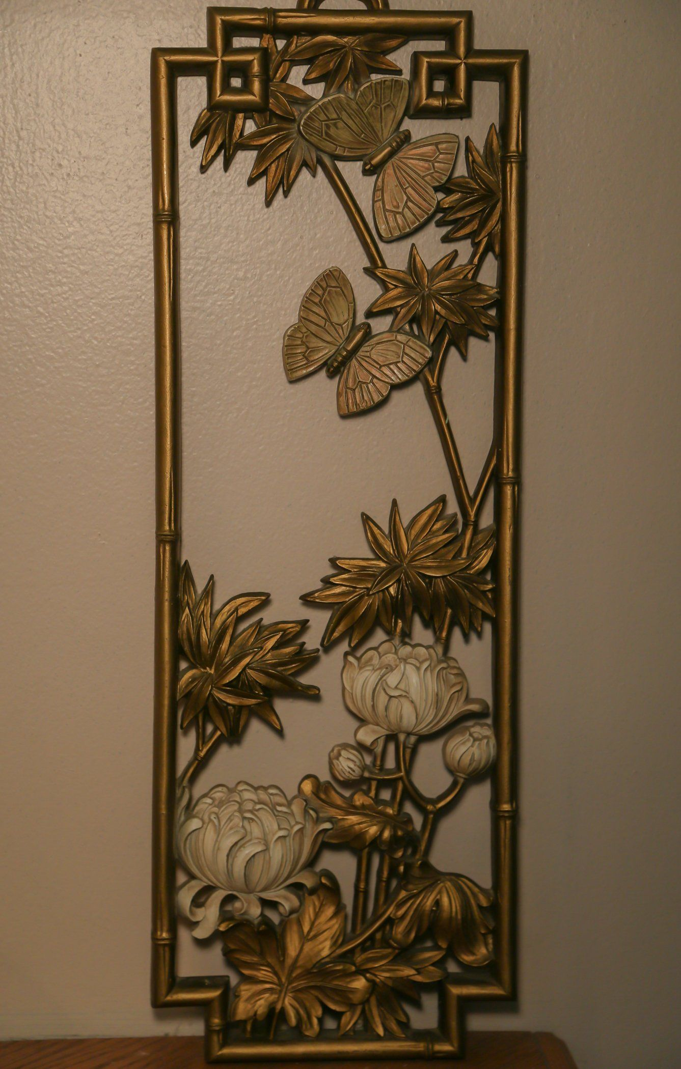 Gold 70s Wall decor with butterflies & Chrysanthemums deco ...