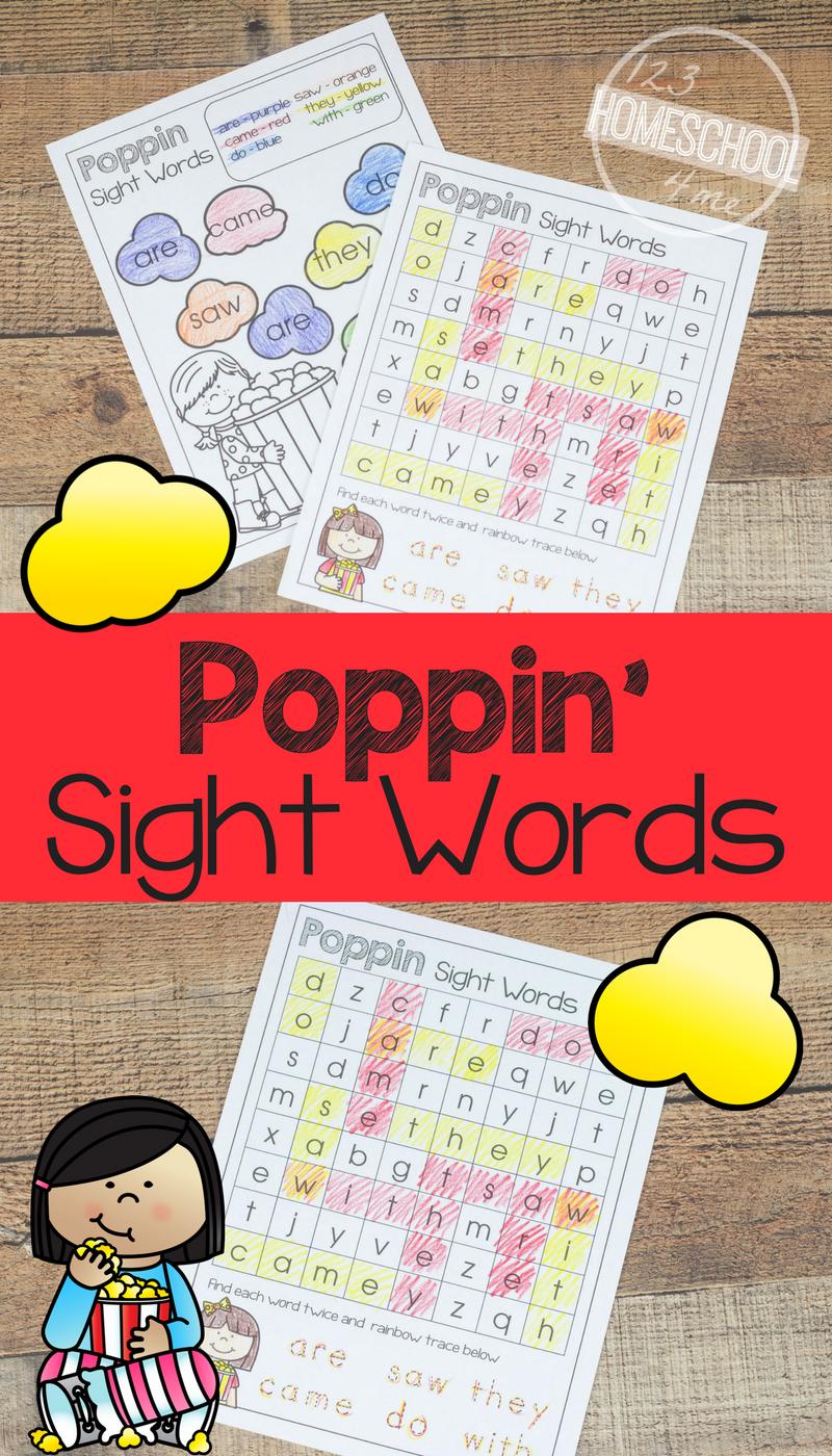 Free Popcorn Sight Words Printables Sight Word Worksheets Preschool Sight Words Sight Words [ 1400 x 800 Pixel ]