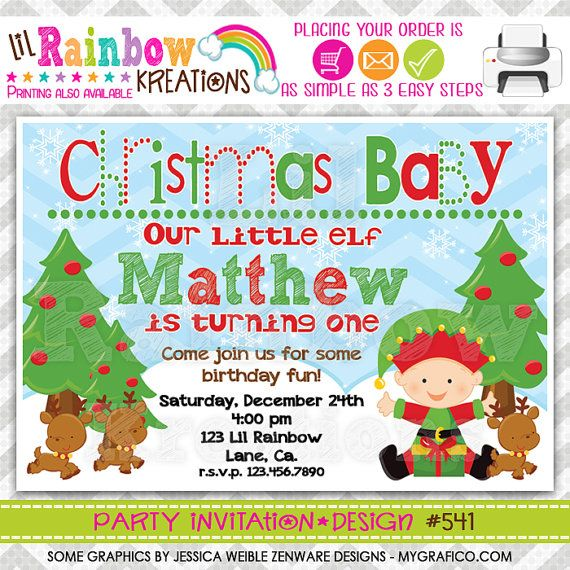 541 DIY - Christmas Baby 3 Party Invitation Or Thank You Card