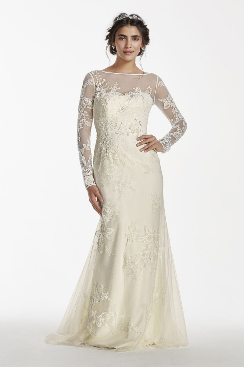 Melissa sweet long sleeved lace wedding dress style ms