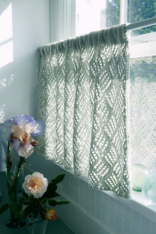 knit picks lace kitchen curtains knitting. Black Bedroom Furniture Sets. Home Design Ideas