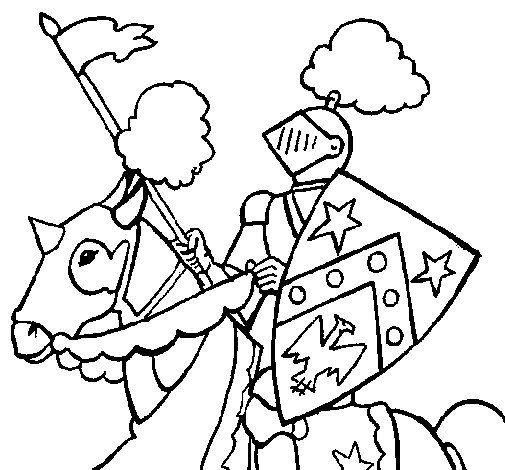 Dibujo de Caballero a caballo 1 para Colorear | Korszakok ...
