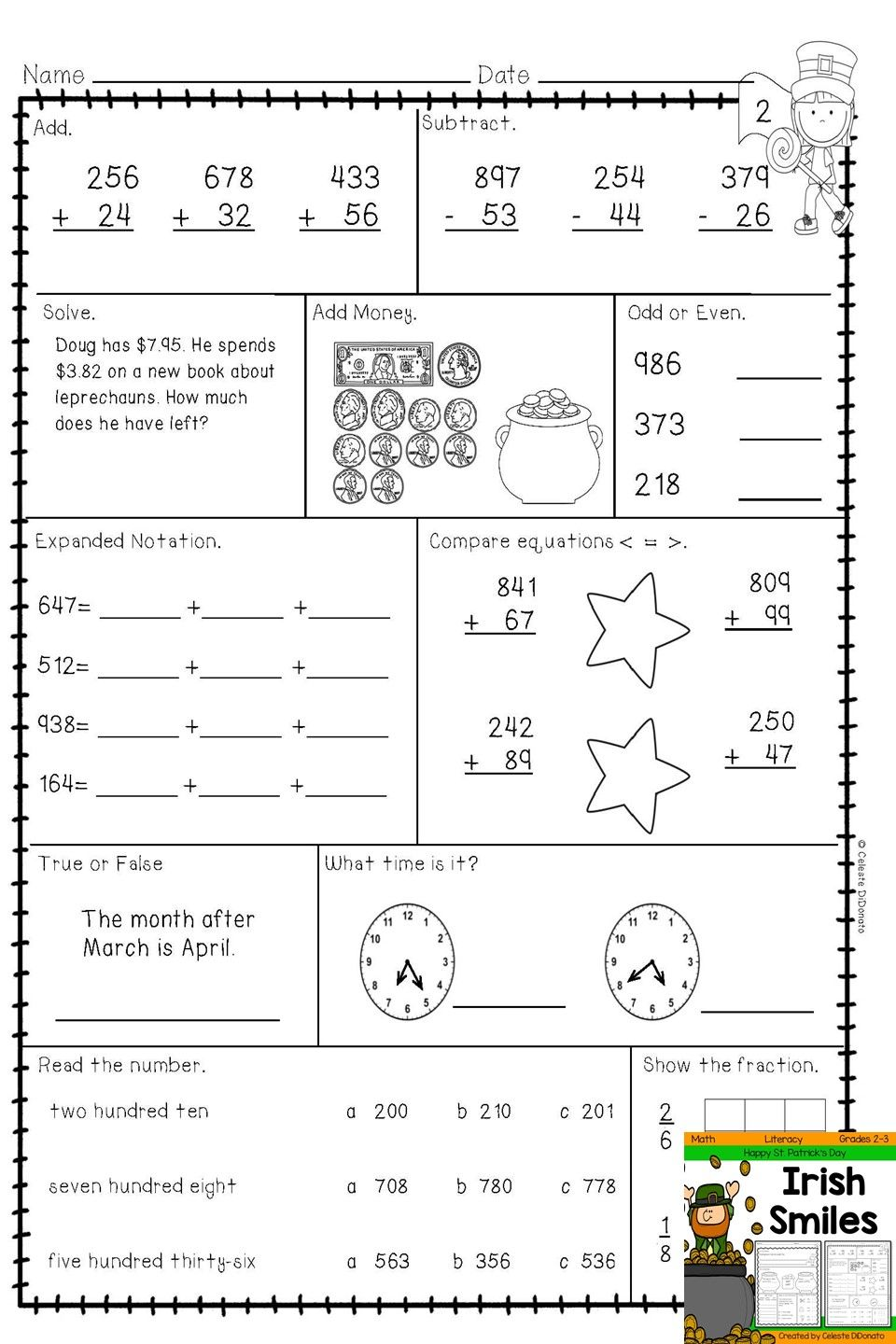 St.Patrick\'s Day Math and Literacy | Pinterest | Comparing numbers ...