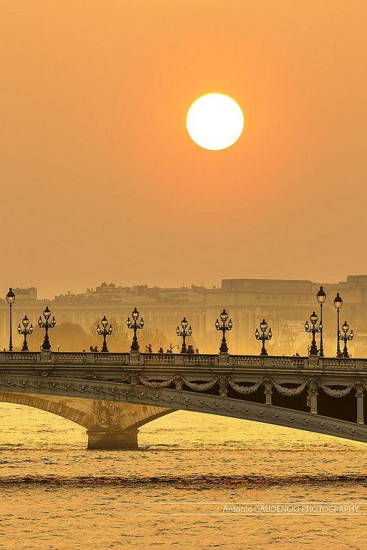 Pont Alexandre, Paris  A Ponte Alexandre III é uma ponte em arco que atravessa o rio Sena em Paris. A ponte liga o bairro dos Campos Elísios ao do Invalides e Torre Eiffel. É considerada uma das pontes mais ornamentadas e extravagantes de Paris.