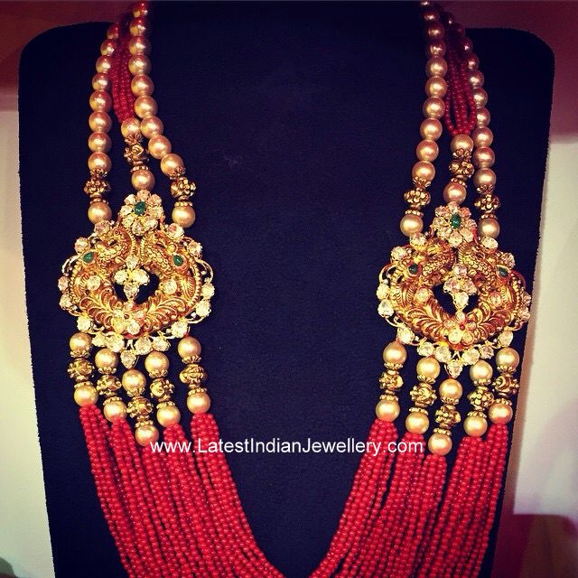 b2b1b6301e252 Coral Beads Multi Strand Haram   Party Wear Jewellery   Jewelry ...