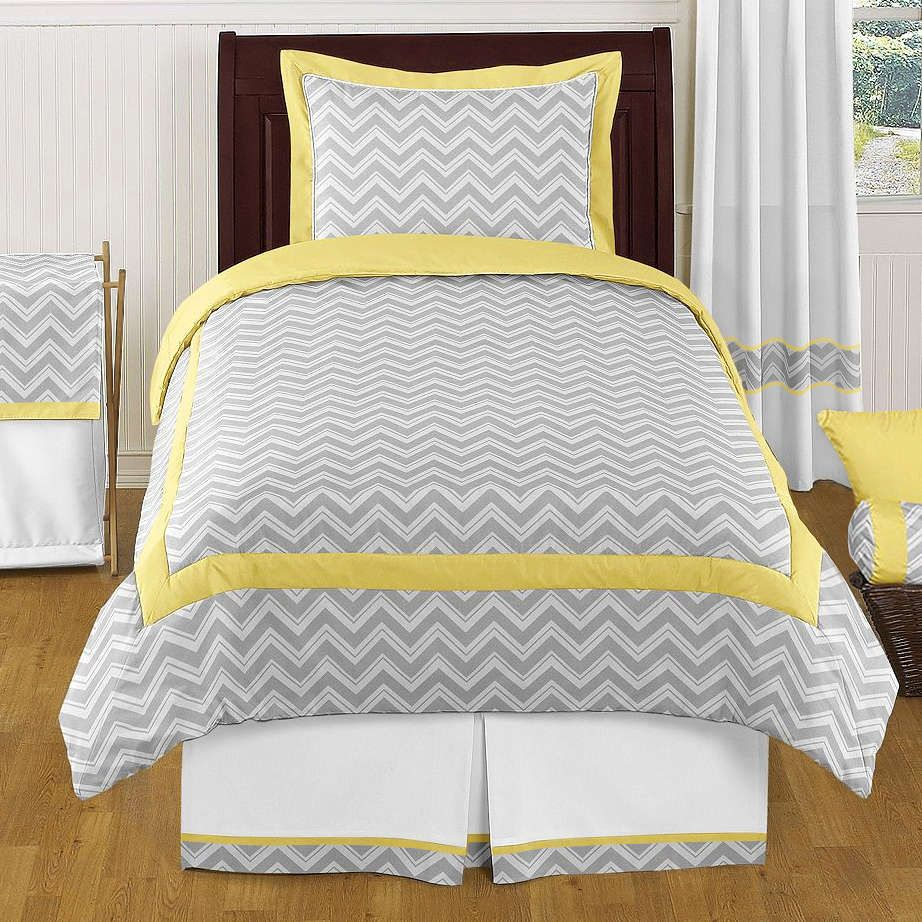 Best Zig Zag Yellow And Gray 4 Piece Twin Comforter Set 400 x 300
